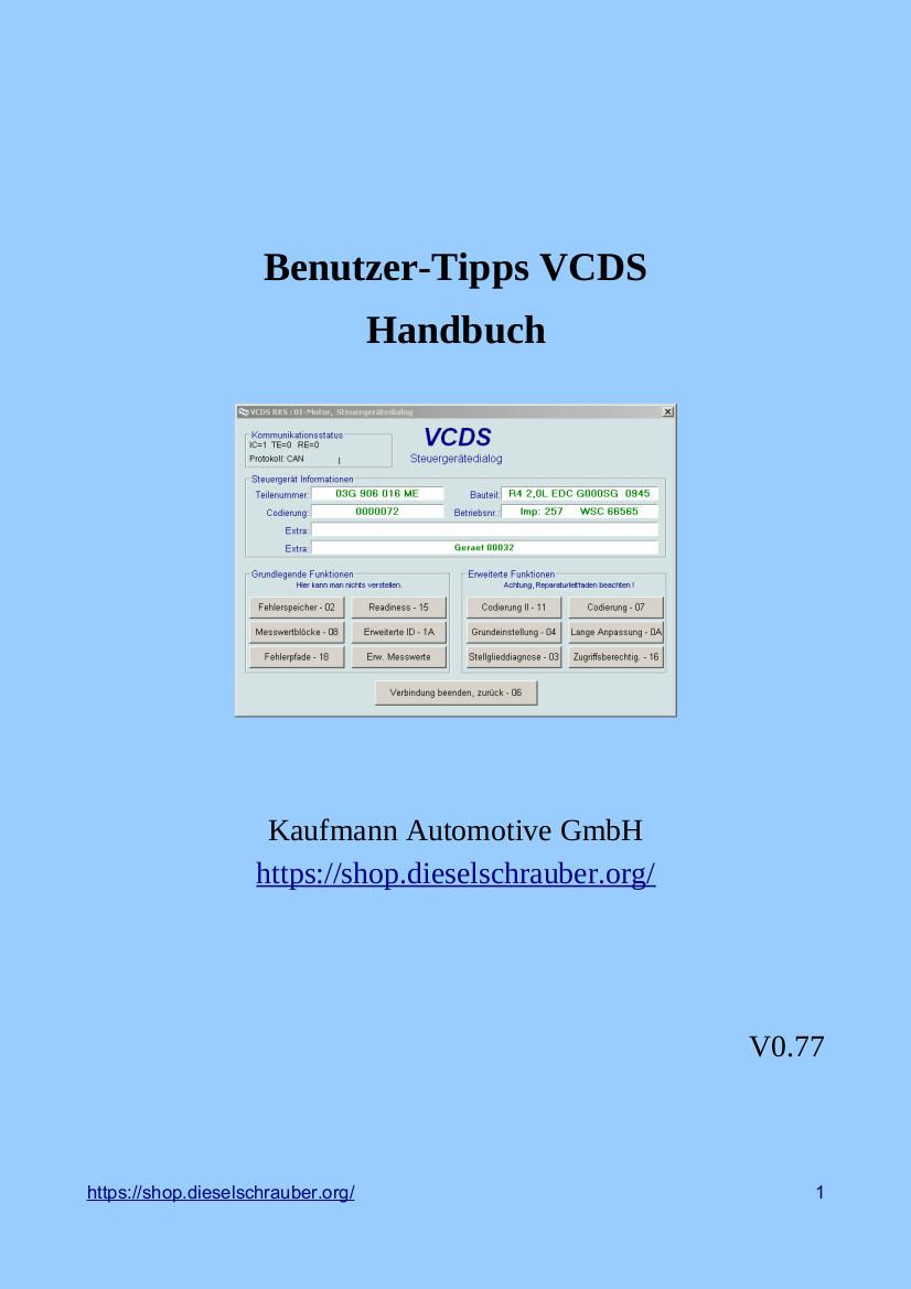 Vcds vag com auswahl screenshots und vcds benutzerhandbuch