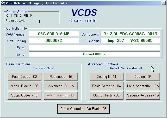 Запускаем прогу подключаем кабель диагностики vcds