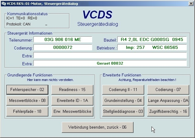 vcds auswahl screenshots vcds benutzerhandbuch. Black Bedroom Furniture Sets. Home Design Ideas
